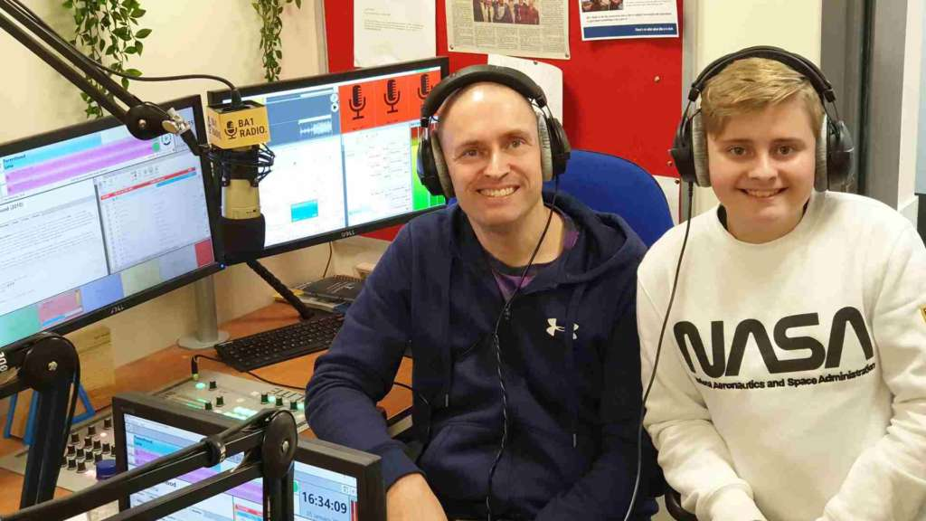 Father and son presenting a radio show