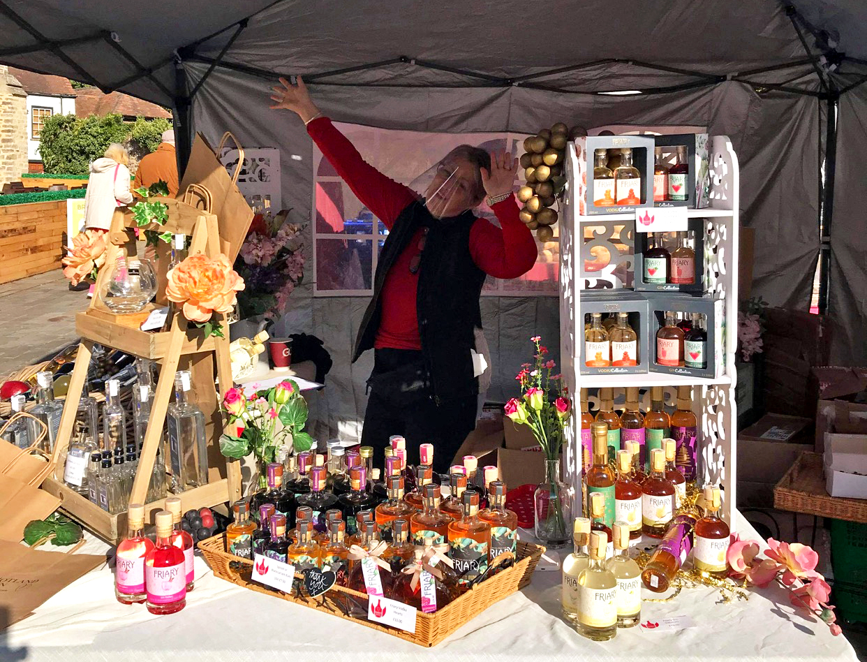 Sweet Drinks' Jane Osborne-Price promoting West Country drinks at Taunton Independent Market in September
